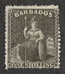 Barbados: 1861-70 1/- brown-black, unused.